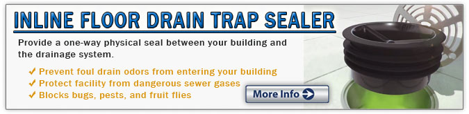 Block Odors, Harmful Sewer Gases, and Fruit Flies with inline floor drain trap sealers and green drains