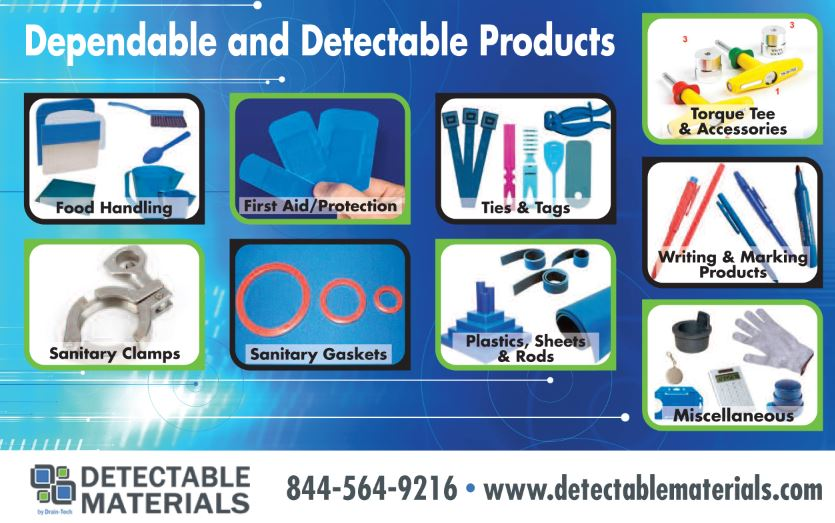 food processing industry detectable materials