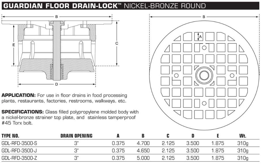 Guardian FLOOR Drain-Lock Round - JR Smith Drain Specs