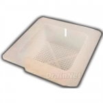 Square floor sink basket with flange