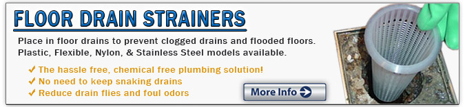 Floor drain strainers for restaurants and commercial kitchens prevent drain clogs