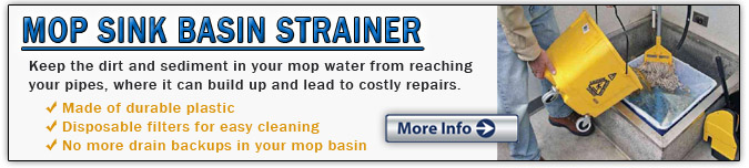 Mop Sink Basin Strainer for drain backups in restaurants and commercial kitchens