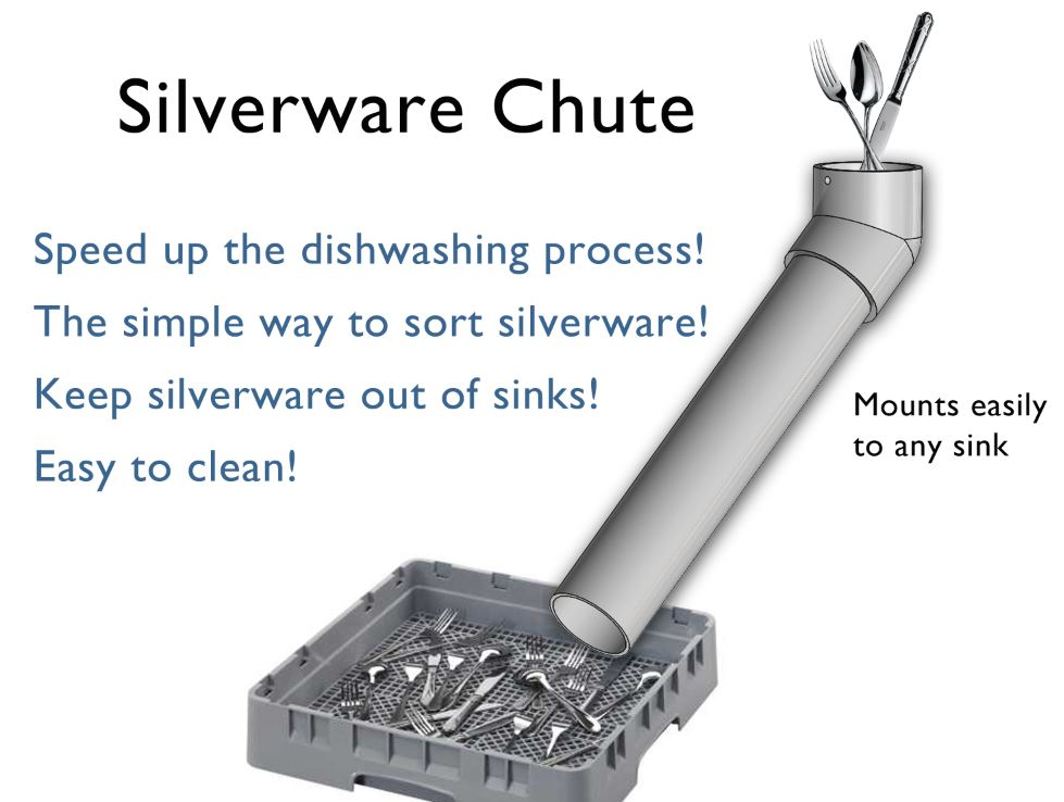 smallwares chute for commercial sinks