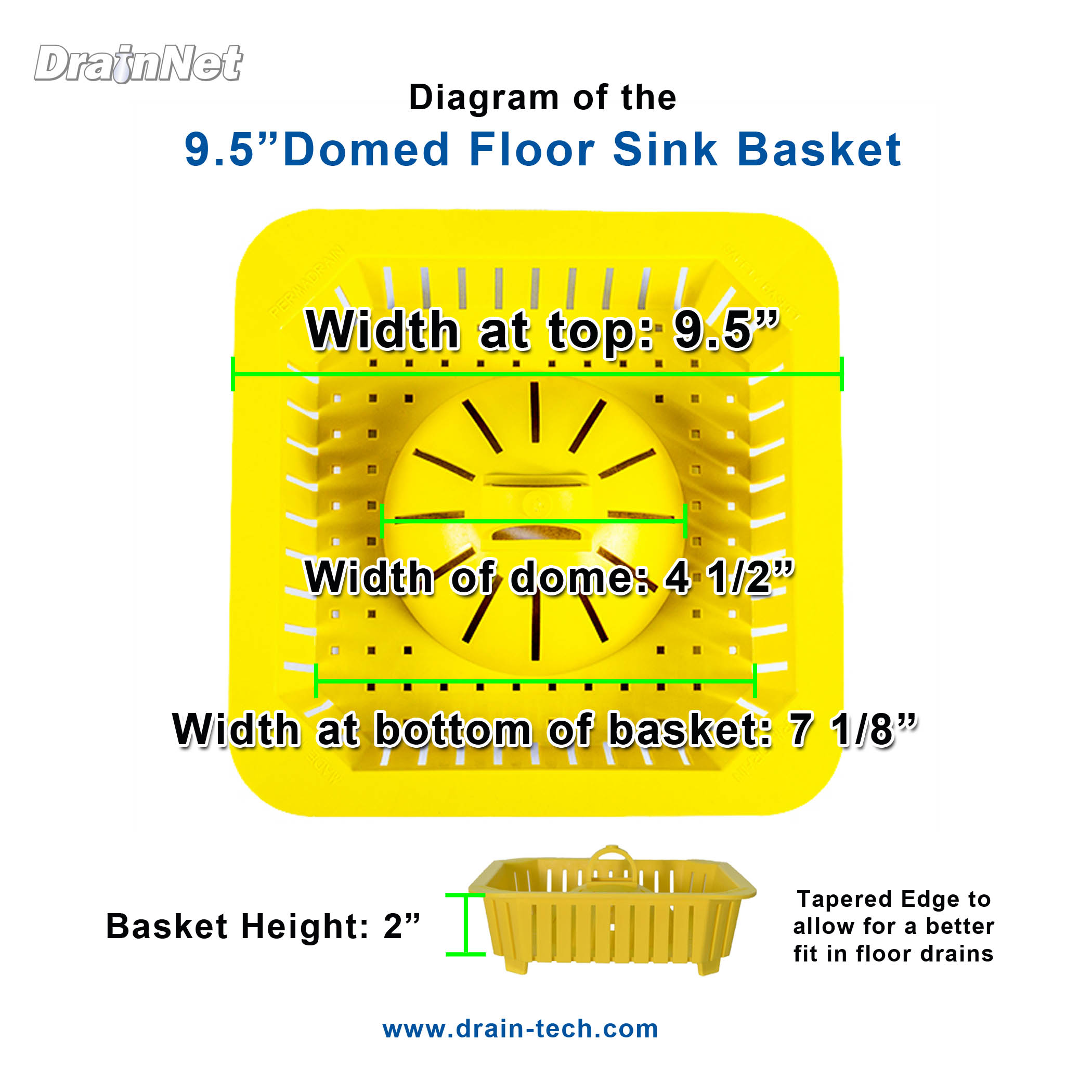 Domed Basket Diagram 9 and half for floor sink