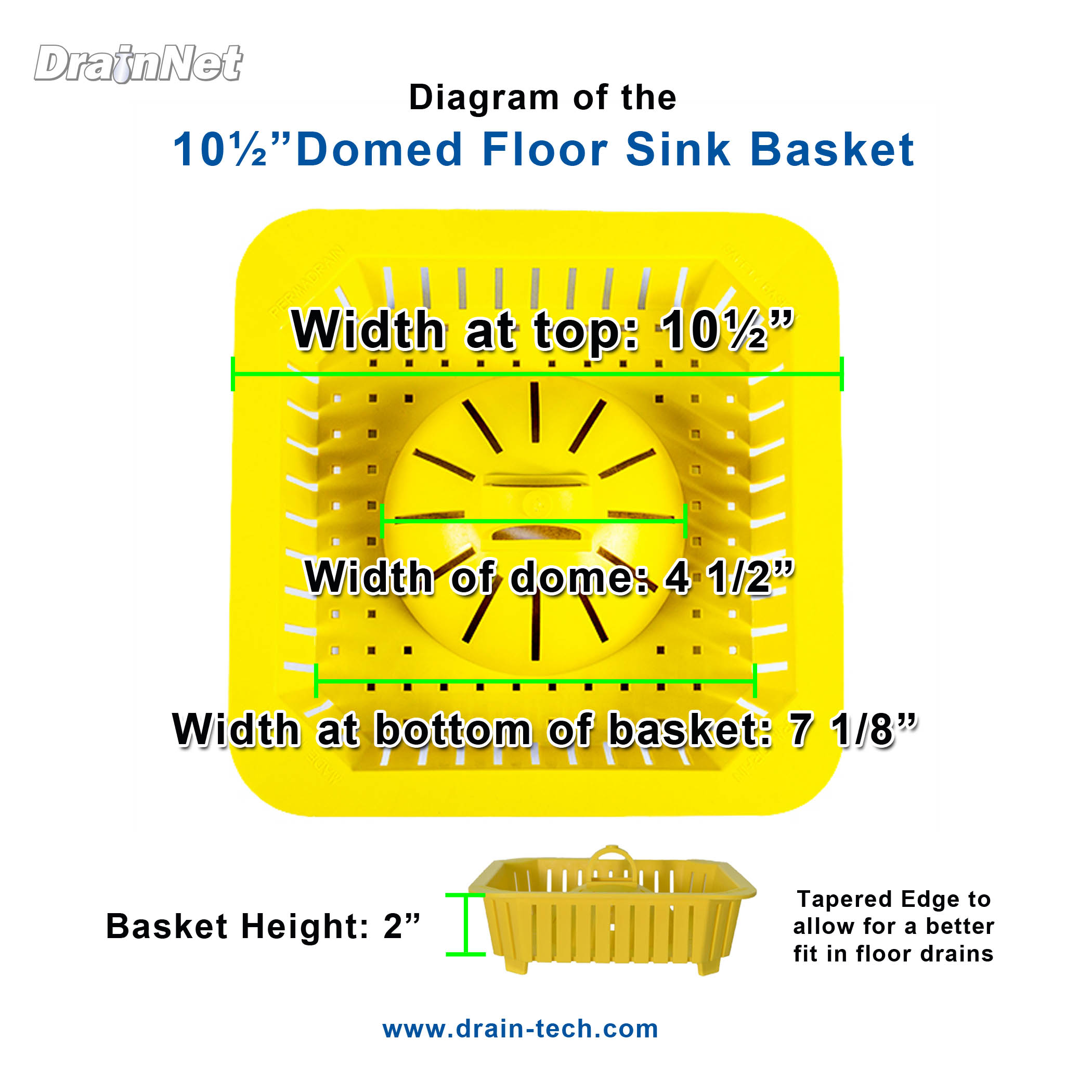 Domed Floor SInk Basket Diagram 10 and half