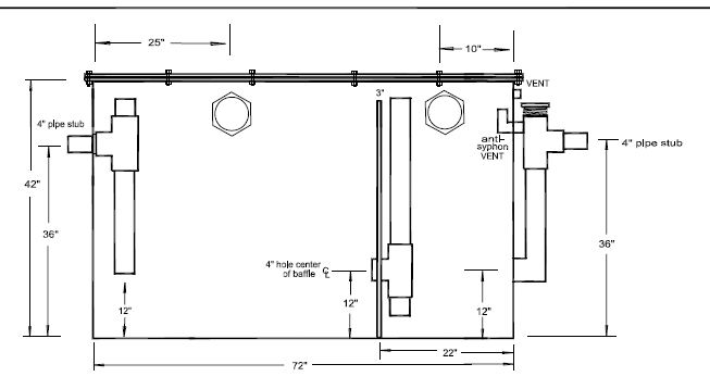 grease trap piping diagram within commercial grease trap