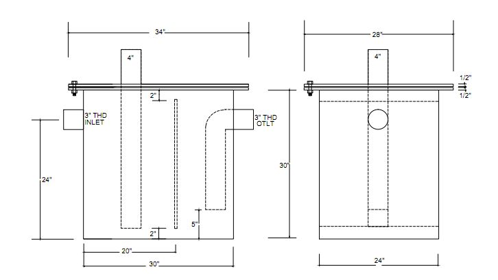 custom grease trap diagram custom grease traps