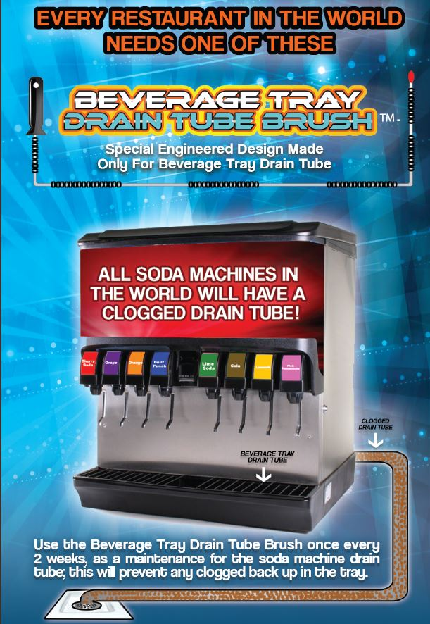 drain clog in soda fountain line - brush