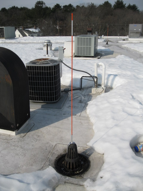 Roof Drain Marker For Flat Rooftops Covered In Snow