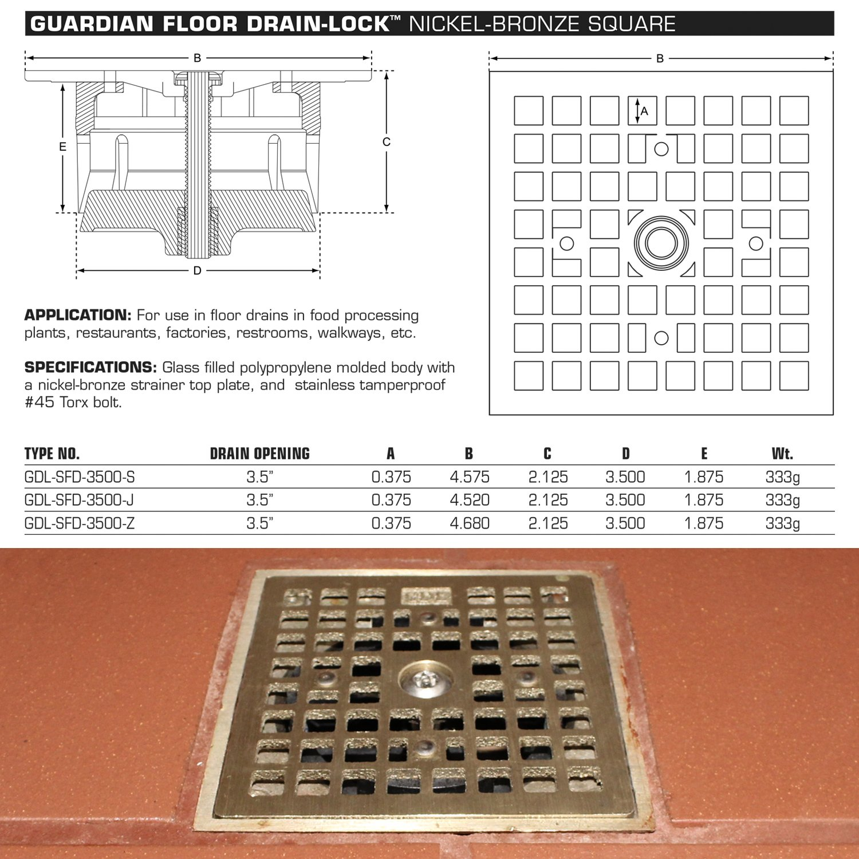 Guardian Floor Drain Lock Square For Zurn Josam Amp Jr Smith