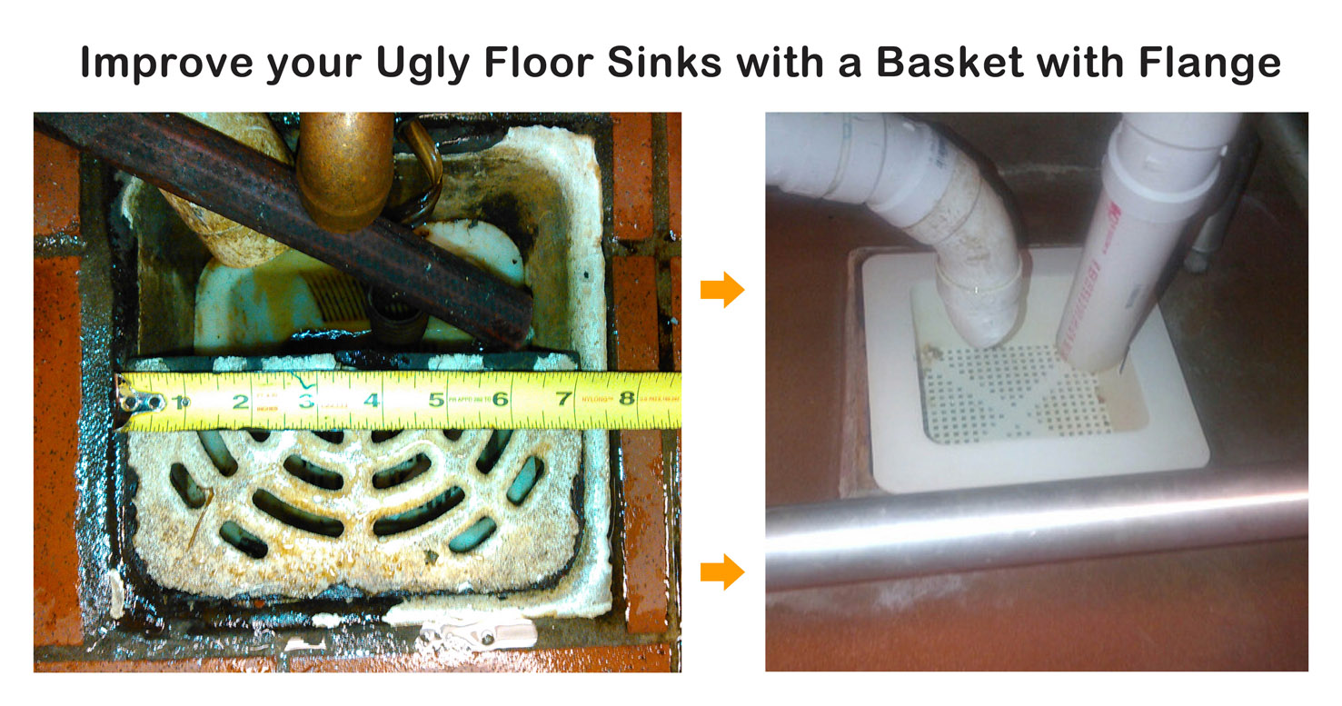 floor sink basket with flange